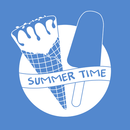 Vector illustration with delicious ice cream cone and ice lolly. Inscription summer time. Ilustração