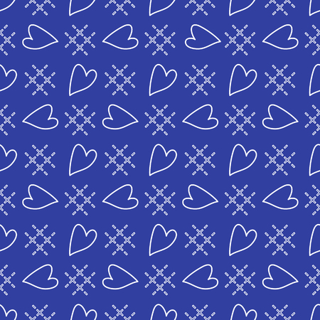 Cute seamless pattern with hearts. Happy Valentines Day. Romantic background. Design for party card, paper, wrapping, fabric. Illustration