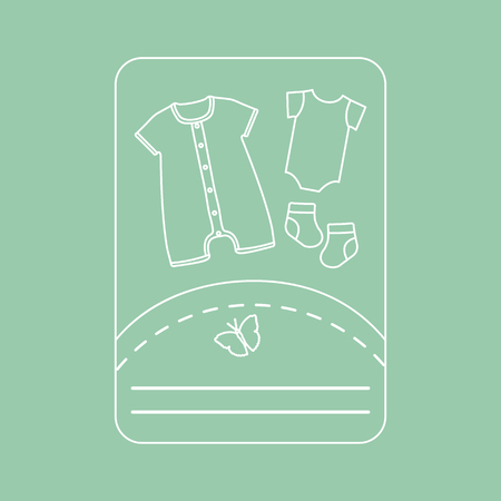 Vector illustration with baby clothes. Slip, socks, bodysuit. Things necessary for newborns. Imagens - 124987194