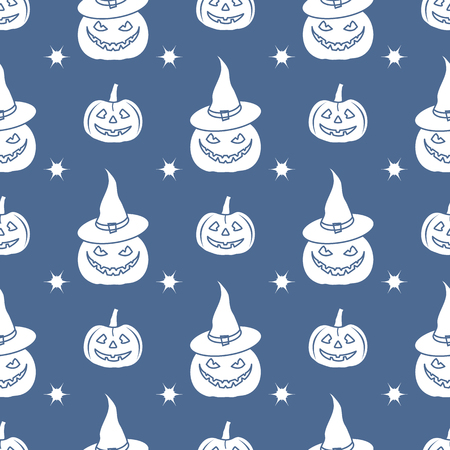 Halloween 2019 vector seamless pattern with pumpkins, witch hat. Design for party card, wrapping, fabric, print. Çizim
