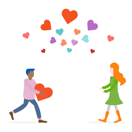 Man and woman rush to each other for a meeting, hearts. Birthday, Valentines day vector background. Design for greeting card, banner, poster or print.