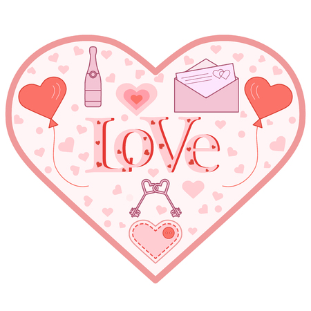 Balloons, keys, envelope with letter, bottle, stitched heart with button in the shape of a heart. Inscription love with hearts. Birthday, Valentine's day vector background. Foto de archivo - 124987200