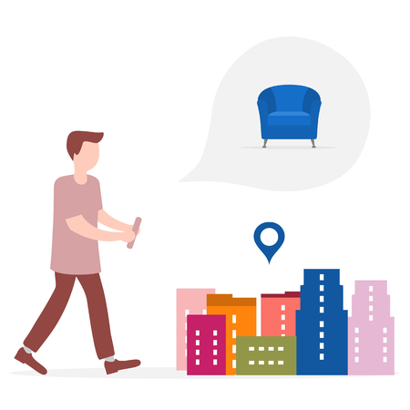 Application of augmented reality: AR for navigation in city. Man with modern device plans to buy armchair in a mall in city. Navigation pointers to shops.