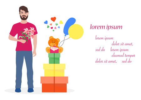 Young man with flowers and gift boxes, balloons, soft toy bear. Birthday, Valentines day, Mothers Day vector background. Design for greeting card, banner, poster or print. Çizim