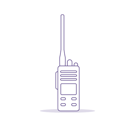 Vector illustration with walkie talkie. Portable radio, communications and security. Mobile transceiver. Illustration