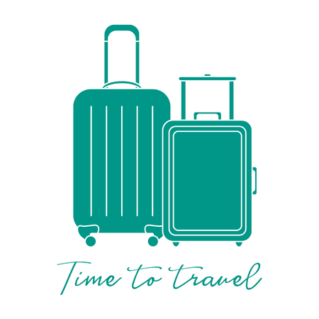 Vector illustration with two suitcases. Summer time, vacation. Leisure.  イラスト・ベクター素材