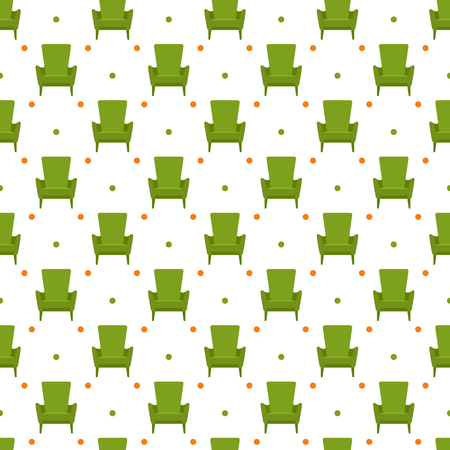 Vector seamless armchair pattern. Cushioned furniture. Design for banner, poster or print. Banco de Imagens - 124876270