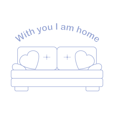 Vector illustration with sofa, pillows in heart shape. Inscription With you I am home. Valentine's day, wedding. Romantic background. Template for greeting card, fabric, print. Banco de Imagens - 124876274