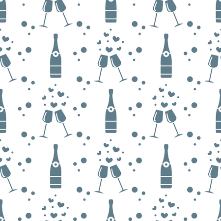 Seamless pattern with champagne glasses, hearts, bottle. Greeting card happy Valentines Day. Romantic background.
