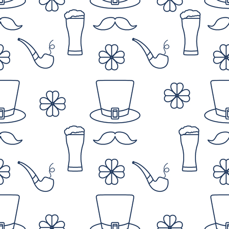 Seamless pattern with clover leaves, mustache, glass of beer, hat, smoking pipe. St. Patrick's Day. Holiday background. Irish vector pattern. Design for banner, poster, textile, print. Banco de Imagens - 124876281