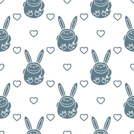 Seamless pattern with cartoon rabbits and hearts. Birthday, Valentines day, Happy Easter vector background. Festive background. Easter Bunny, rabbit, hare. Ilustração