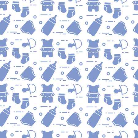 Seamless pattern with goods for babies. Newborn baby background. Baby bottle, nipple, socks, diapers, bodysuit. Banco de Imagens - 124876289
