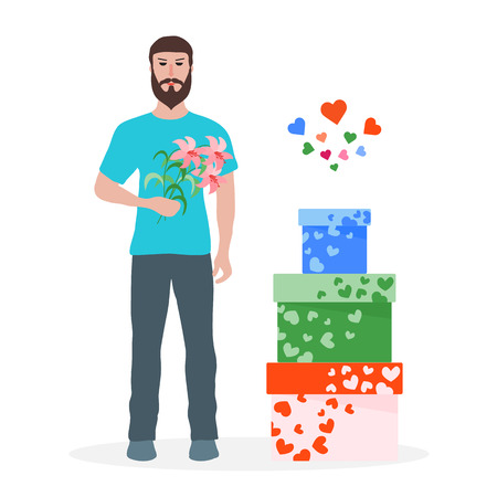 Young man with flowers and gift boxes, balloons, soft toy bear. Birthday, Valentines day, Mothers Day vector background. Design for greeting card, banner, poster or print. Illustration