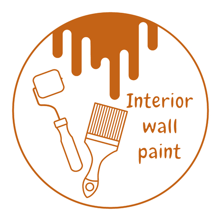Vector illustration with tools for painting works. Building, construction and home repair tools. Painting and repair of premises. Banco de Imagens - 124879588