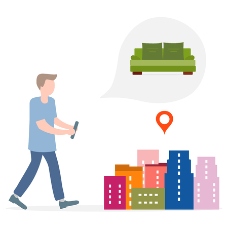Application of augmented reality: AR for navigation in city. Man with modern device plans to buy sofa in a mall in city. Navigation pointers to shops.