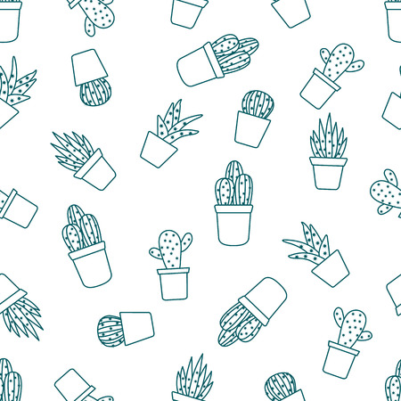 Vector seamless pattern with cactus and succulents. Trendy background. Tropical plants. Banco de Imagens - 124879591