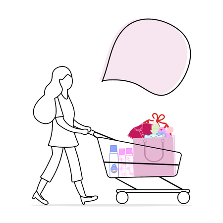 Vector illustration with woman carries a shopping cart with purchased goods from the store. Girl out shopping. Big sale and shopping concept.