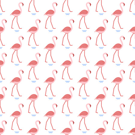 Seamless pattern with flamingo. Tropical exotic bird background. Design for poster or print.