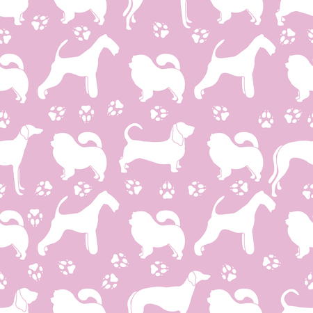 Seamless pattern with dogs of different breeds, dog tracks. Animal background. Design for card, announcement, advertisement, banner or print. Banco de Imagens - 124879598