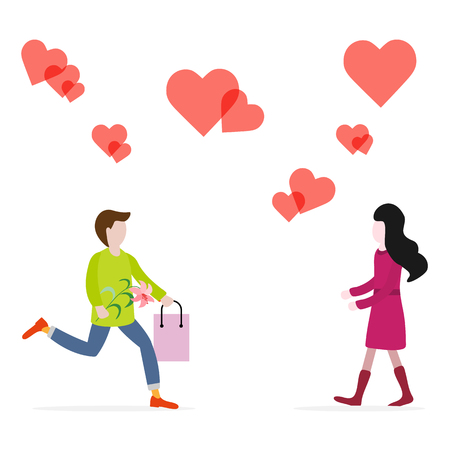 Young man with flower and gift rushing for a date with woman, hearts. Birthday, Valentine's day, Mother's Day vector background. Design for greeting card, banner, poster or print.