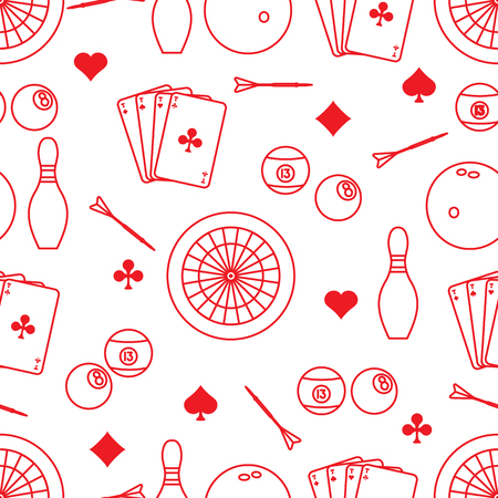 Seamless pattern with bowling pins and bowls, target and arrows for darts, playing cards, billiard balls. Sports background. Design for banner, poster or print. Banco de Imagens - 124879602
