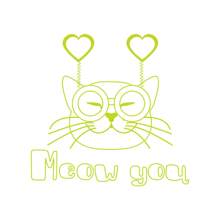 Vector illustration with muzzle of cat in carnival glasses with hearts. Greeting card happy Valentines Day. Romantic background. Carnival festive concept.