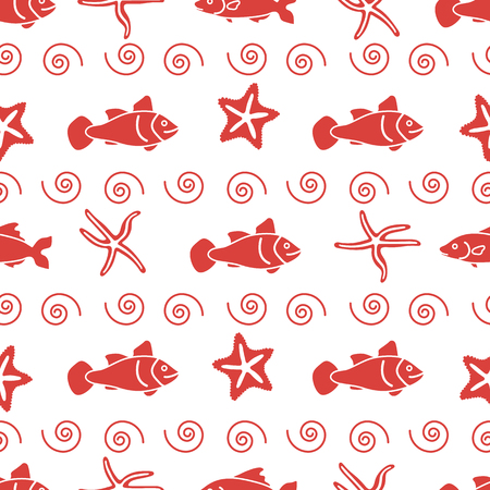 Vector seamless pattern with starfish and fish. Marine background. Design for banner, poster or print.