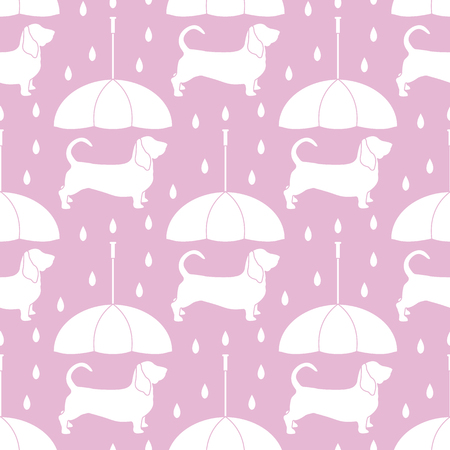 Seamless pattern with rain and dog under an umbrella. Friendship. Animal protection. Banco de Imagens - 124879617