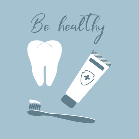 Vector illustration with tooth, toothbrush, toothpaste. Dental clinic. Oral hygiene. Medical background. Health and сare. Design for banner, poster or print.