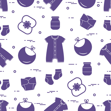 Seamless pattern with goods for babies. Newborn baby background. Bib, baby food can, rattle, socks, diapers, bodysuit. Banco de Imagens - 124879619