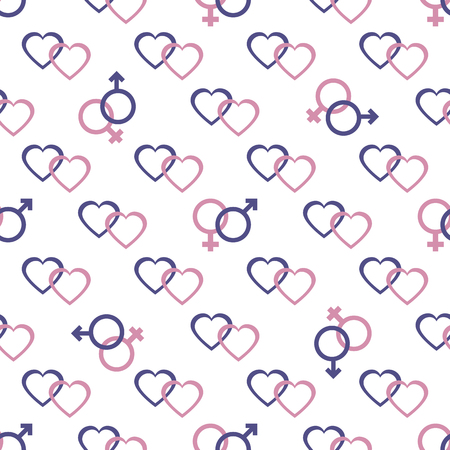 Seamless pattern with gender symbols and hearts. Male and female icons, hearts. Greeting card happy Valentine's Day. Romantic background.
