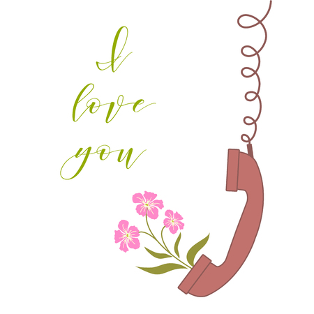 Vector illustration with handle handset and flowers from the handset. Inscription i love you. Romantic background. Stock Vector - 124879620