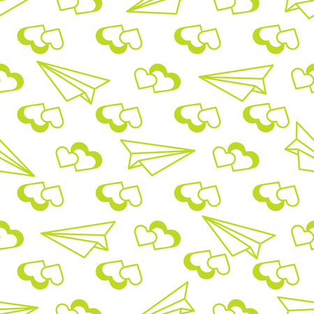 Seamless pattern with paper airplane, hearts. Greeting card happy Valentine's Day. Romantic background. Reklamní fotografie - 124879622