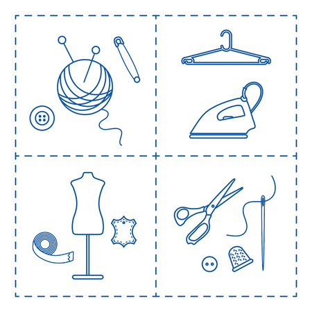 Vector illustration with tools, accessories for sewing. Buttons, clew, knitting needles, threads, iron, hanger, thimble, pins, needle, scissors, dummy, tape. Template for design, fabric, print. Banco de Imagens - 124879623
