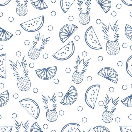 Seamless pattern with pineapples, orange slices, watermelon slices. Tropical fruit. Summer background. Ilustração