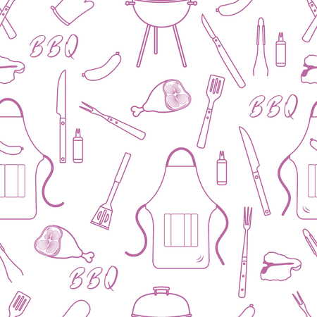Seamless pattern with grill and barbecue tools. BBQ party background. Design for party card, banner, poster or print. Banco de Imagens - 124879628