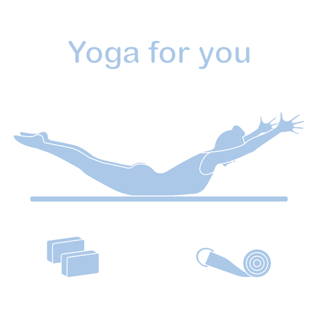 Vector illustration with silhouette of woman in yoga pose, blocks, belt for yoga. Relax and meditate. Healthy lifestyle. Balance training. Design for banner and print.
