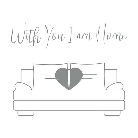 Vektorillustration mit Sofa, Kissen in Herzform. Inschrift Bei dir bin ich zu Hause. Valentinstag, Hochzeit. Romantischer Hintergrund. Vorlage für Grußkarten, Stoff, Druck.