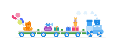 Funny vector illustration with train carries toys: baby toy musical instruments, bear, gifts, balloons. Happy New Year 2019, Christmas, Birthday. Sale, shopping concept.