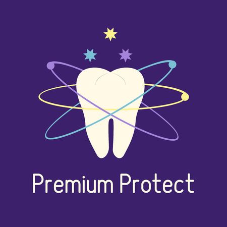 Vector illustration with tooth. Protection for teeth. Dental clinic. Oral hygiene. Medical background. Health and �are. Design for banner, poster or print. Banco de Imagens - 124879634