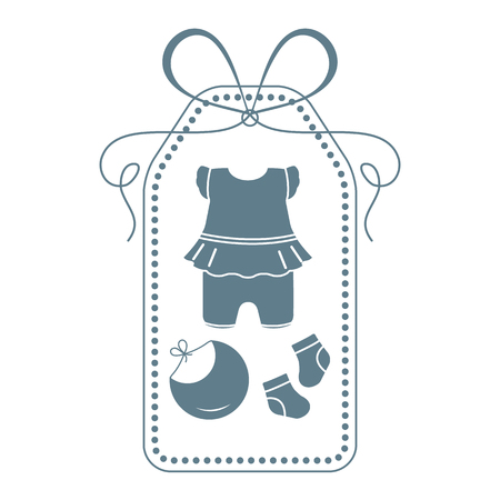 Vector illustration with baby clothes. Bib, socks, bodysuit. Things necessary for newborns. Banco de Imagens - 124879635