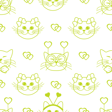Seamless pattern with muzzle of cats in carnival masks, glasses, tie, bows, headbands and hearts. Greeting card happy Valentine's Day. Romantic background. Carnival festive concept. Banco de Imagens - 124879639