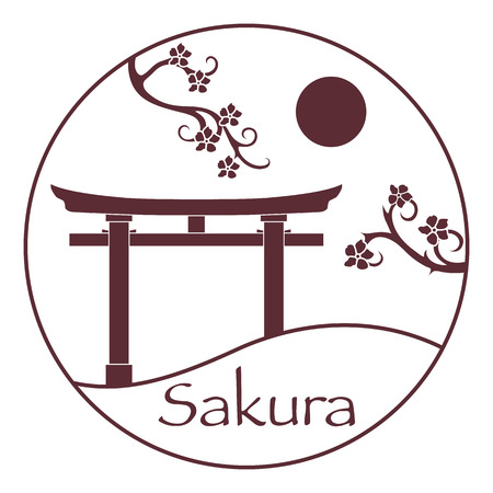 Sakura branches and torii, ritual gates. Japan traditional design elements. Branches of cherry blossoms. Travel and leisure. Banco de Imagens - 124879642