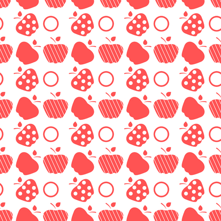 Seamless pattern with apples. Vector illustration with apple and leaf. Fruit background. Design for poster, textile, greeting card. Banco de Imagens - 124879646