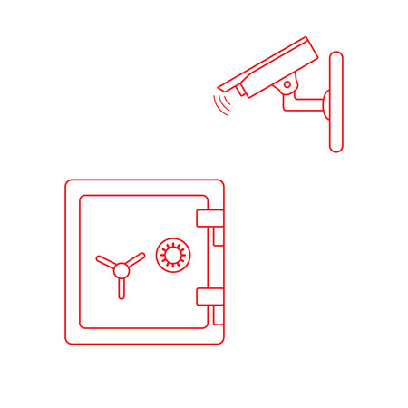 Vector illustration with security camera and safe. Ensuring the safety of savings. Banco de Imagens - 124879647