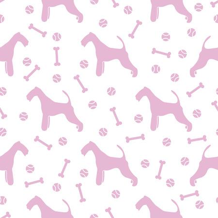 Seamless pattern with dog, bone, tennis ball. Friendship. Animal background.