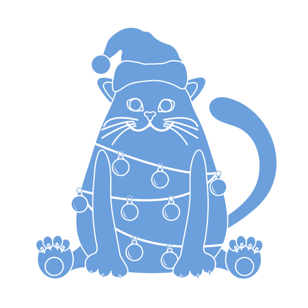 Happy New Year 2019 and Christmas vector illustration. Cat in a Christmas hat with a garland of light bulbs. Banco de Imagens - 124879652