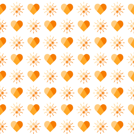 Cute seamless pattern with hearts. Happy Valentines Day. Romantic background. Design for party card, paper, wrapping, fabric. Ilustração