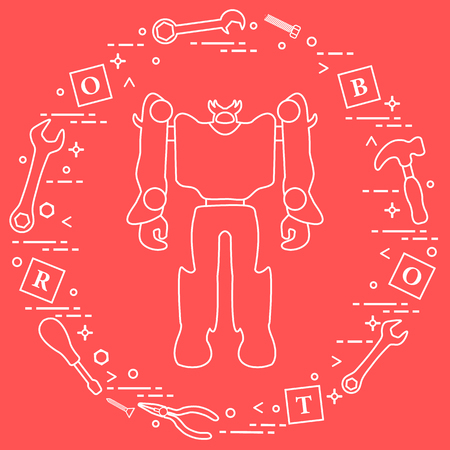 Robot, cubes with letters, toy tools (screwdriver, wrench, screw, hammer). Toys for children. Robotics, technologies. Design for banner, poster or print. Banco de Imagens - 124879654
