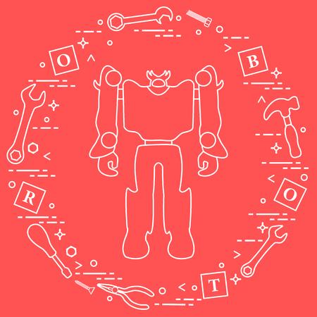 Robot, cubes with letters, toy tools (screwdriver, wrench, screw, hammer). Toys for children. Robotics, technologies. Design for banner, poster or print. Ilustração